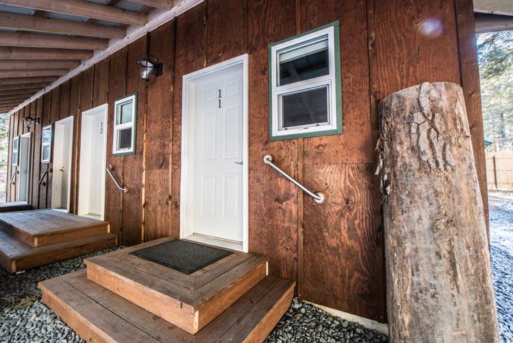queen cabin front door located in seward alaska