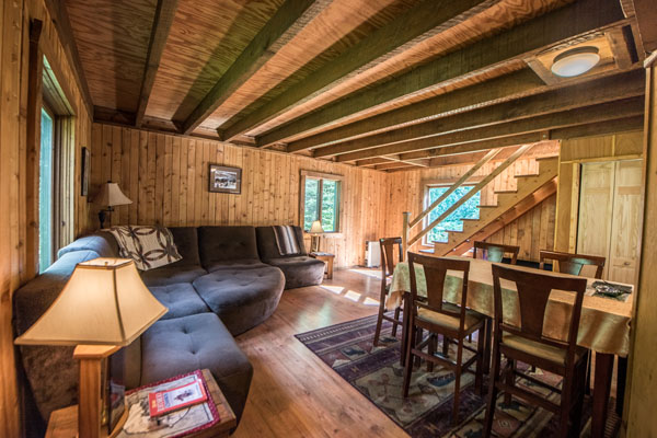 Seward alaska cabins down stairs with couch and table for family gatherings